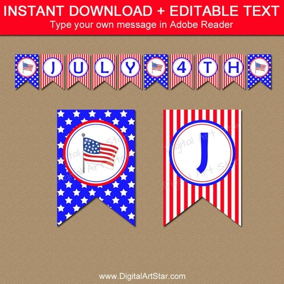Printable 4th of July Banner Template, Fourth of July ...