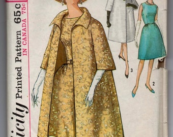 "1960's Simplicity One-Piece Dress and Coat Pattern - Bust 38"" - No. 5194"
