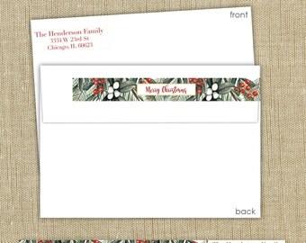 Wrap around return address labels.  Christmas address labels. Set of 50