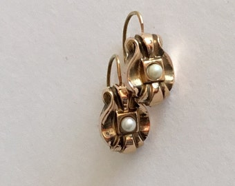Antique French Victorian Dormeuse Drop Pearl Earrings, in 18K Gold