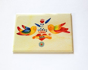 Large Pocket mirror, Love Birds, pocket mirror, rectangle mirror, Gift for her, folk art design, Yellow, Birds, Love (5842)
