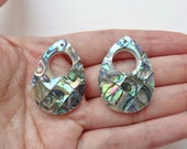 Mosaic Paua Abalone Shell 22x32 mm with large Hole & drilled hole One Pair K5997