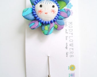 flower face lapel pin brooch