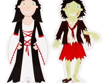 Halloween Paper Dolls - DIY Craft Kit Paper Dolls - DIY Costume Kit - Halloween Decor