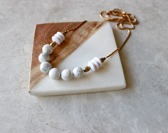 Marble + Brass Statement Necklace, Bubble Necklace, Snake Chain Necklace