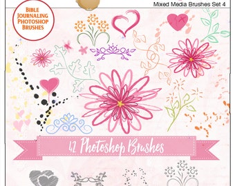 Photoshop Brushes for Digital Art or Bible Journaling, Splatters, Flowers, Swirls, Leaves, Includes 42 png Mixed Media