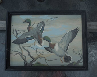 Vintage Ducks on Lake Hand Painted Paint by Number PBN Oil Painting for Cabin or Lodge