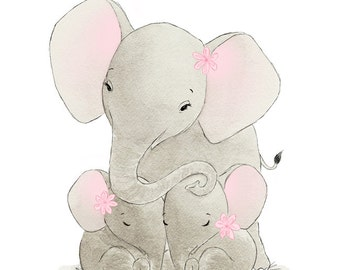 Nursery Wall Art Elephant Twin Girls - Elephants Baby Mine - Children's Baby Kids Room Decor - 8x10