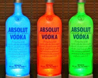 Absolut Vodka Color Changing LED Bottle Lamp Remote Control Bar Light Man Cave Lighting Bodacious Bottles
