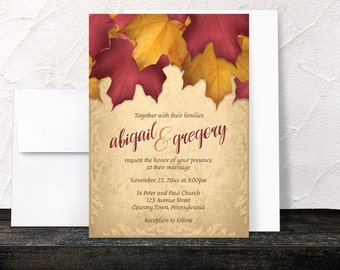 Burgundy Gold Autumn Wedding Invitations - Rustic Fall Burgundy Red Orange and Yellow Leaves over Gold with Flourish design - Printed