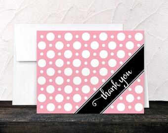 Pink Thank You Cards - Polka Dot Cafe Pink - Stylish Preppy Black Corner Stripe Polka Dot Thank You Cards - Printed