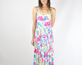 Vintage Floral Sun Dress, Strappy Summer Party dress, Small