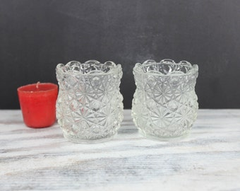 Vintage Button & Daisy candle holder (set of 2)