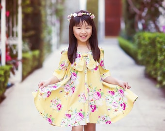 Dress - Chloe - Fall Collections - Dress - Children Designs - Twirl Dress - 3/4 Longsleeves - California Style - Big Bow  - 3T to 8