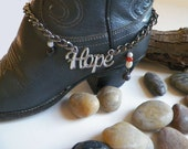 Hope Boot Bracelet with Dangling Agate Gemstones..Adjustable Length with its Large Lobster Clasp. Inspirational Survivors Jewelry.