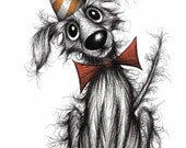 Happy Birthday dog Print download Cute little pet pooch pup puppy hound wearing celebration stripey pointed hat Animal drawing image picture