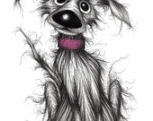 Mr Mucky paws Print A4 size picture Ultra cute adorable happy pet pooch dog doggy mutt with lovely face Ink drawing sketch printed on paper