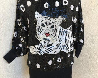 Vintage stunning sequin tiger theme top blouse fit pad shoulders One Size I Magnin Co