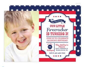 4th of July Birthday Invitation - 4th of july invitation - 4th of July Birthday - Red White and Blue - 4th birthday - printable invitation