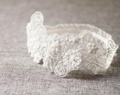 Ivory Antique White Bridal Lace Garter - Pearls Beads Beaded Garters - Wedding Keepsake Garter Toss Garter