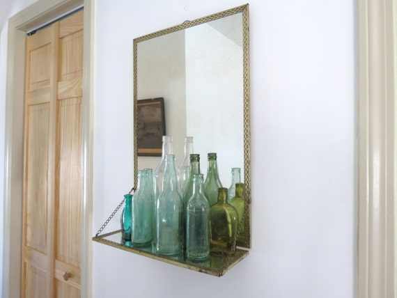 50 Bath Mirror With Shelves Decorate A Bathroom Mirror With Shelf: Vintage Mirror With Shelf // Mid Century Style Gold Metal Mesh