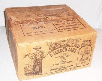 Anchor Hocking, Orig Box LIBERTY BELL Bicentennial Cannning Jars, Pints