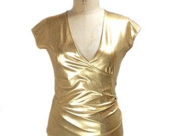vintage 1980s NORMA KAMALI OMO gold top / metallic liquid gold / wrap blouse / women's vintage top / size small