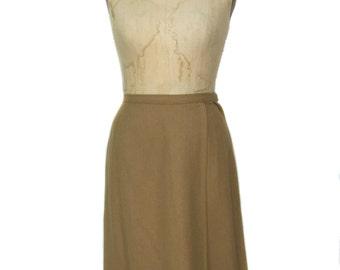 vintage 1960s wool skirt / Evan Picone / tan / wool / a-line skirt / vintage separates / women's vintage skirt / size medium