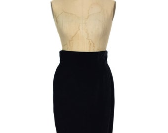 vintage 1980s BALENCIAGA velvet pencil skirt / black / straight wiggle skirt / women's vintage skirt / size 6