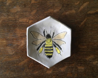 Spoon Rest Stoneware Clay BEE