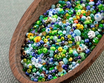 20g Czech seed beads Mixed green blue yellow seed beads MIX-15 Czech rocailles Seed bead soup seed beads