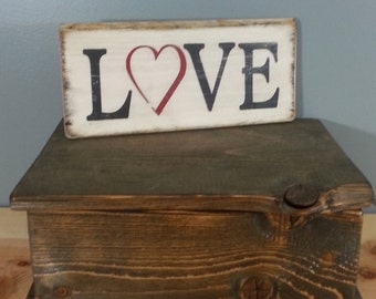 LOVE with a heart for the O - Rustic Wooden Sign  - .  Black with Red  heart on White background