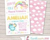 Unicorn Birthday Invitation - Unicorn Birthday - Watercolor Unicorn - Unicorn Party - Pastel Unicorn Birthday - DIY Custom Printable