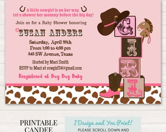 Cowgirl Baby Shower Invitation - Cowgirl Baby Shower - Western Baby Shower - Rustic Baby Shower - Printable Cowgirl Baby Shower