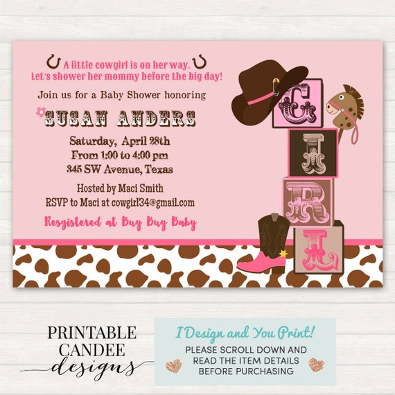cowgirl baby shower invitation cowgirl baby shower western, Baby shower invitations
