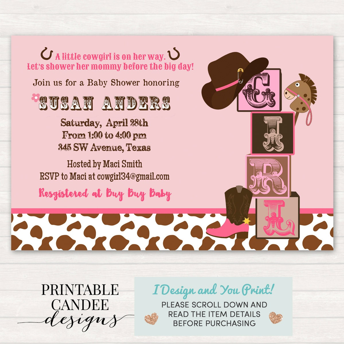 cowgirl baby shower  etsy, Baby shower invitations