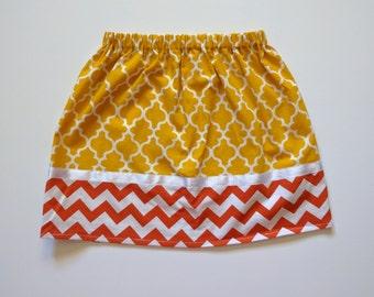 Girls Skirt - Fall Skirt - Orange Chevron - Yellow & Orange