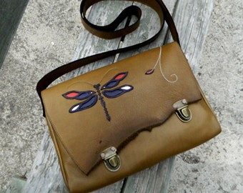 Leather Messenger Satchel Olive Leather Handbag with Dragonfly Detailing Awesome Everyday Satchel or Travel Bag