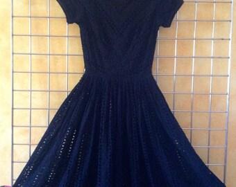 Vintage 60s Audrey Hepburn Black EYELET Dress Size  XS