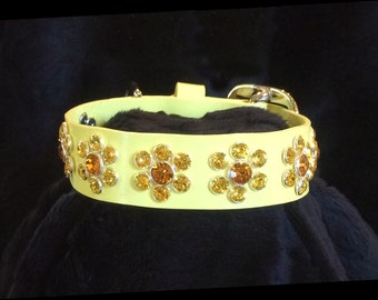 DAISY:  Pale Yellow Dog Collar with Swarovski Crystals