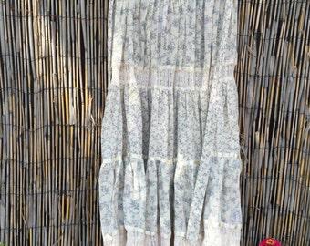 VINTAGE 1970s Gunne Sax Sheer Cotton Gauze Calico Prairie Skirt