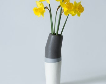 "11"" Matte White, Grey and Black Stoneware / Porcelain Flower Vase /  Hand built - Contemporary unique gift - Ceramic Pottery - Modern"