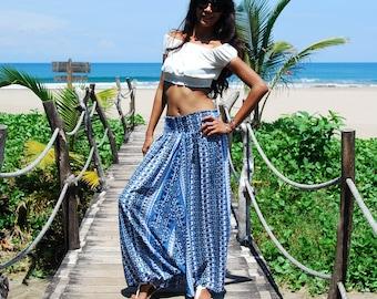 Harem Pants in Blue / Long Harem Pants / Harem Skirt with Elastic Waist