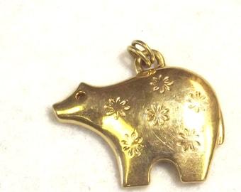 Trifari Bear Pendant - Tribal Style Jewelry - Designer Bear Pendant - Trifari Jewelry