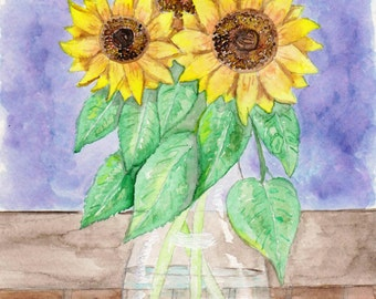 Sunflowers in Vase Watercolor Print, Floral Still Life Painting, Summer Flowers Home Decor, Garden Wall Art, Botanical Picture, Plants