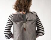 ROLLTOP BACKPACK laptop backpack flat backpack grey mustard backpack grey backpack travel backpack big laptop big backpack hipster backpack