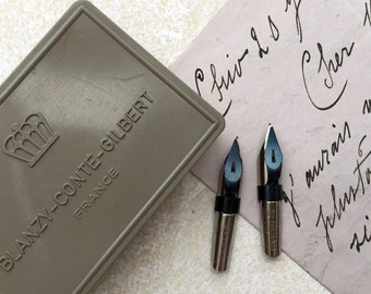 Vintage French nibs from Blanzy-Conté-Gilbert. Two vintage plumes. 0.5 mm Treraid nibs. (Box not included).