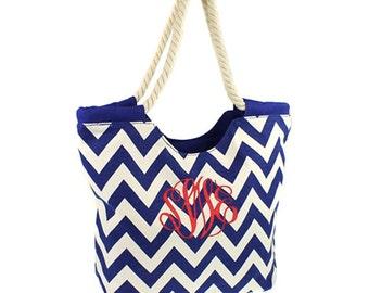 FAST SHIPPING Monogram Royal Blue Chevron Tote Bag, Personalized Tote Bag, Monogrammed Tote Bags, Personalized Chevron Tote Bag, Beach Bag