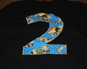 Construction, Dump truck,  2nd second birthday shirt on black - Ready to ship - two, 2