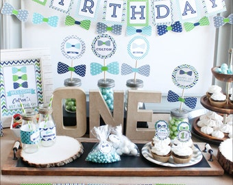 Bow Tie First Birthday Decorations lime navy turquoise MB02 Printable